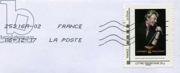 Homage from a Johnny Hallyday fan. On the day of the announcement of the disappearance of the singer (December 6, 2017, the postmark of La Poste being authentic), one of his admirers sends another fan a postage letter with a stamp with the effigy of their idol. See also ref. GUT9368.