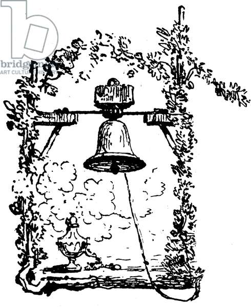Bell with its rope - detail of an engraving beginning 20th century -