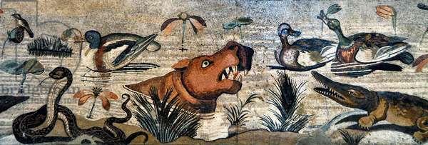 Mosaic frieze from Pompei (fauna house, casa del Fauno - nilotic scene - animal life on the Nile: hippo, crocodile, snake, ducks - Roman art - Archeological Museum of Naples, Italy - Museo Archeologico Nazionale, Napoli, Italia - Photo Patrice Cartier -