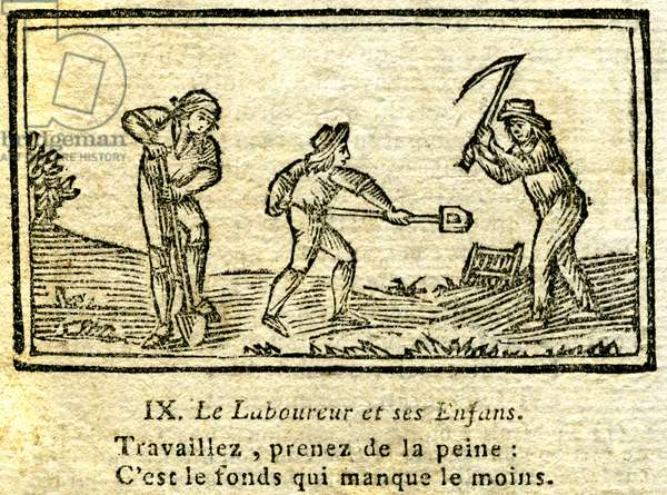 "The plower and his children. First verses and engraving of the famous fable of La Fontaine. ""Work, bother: the fund is the least missing."""" Extract from a collection of the Fables illustrated in 1 volume, 17th-18th century. Patrice Cartier Collection."