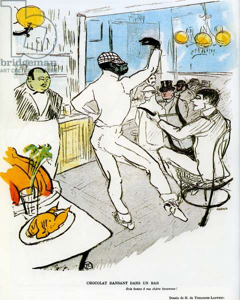 """The """""""" clown negre """""""" Rafael Padilla dit Chocolat (1866 or 1868-1917) dancing in a bar in Paris. Drawing by Henri de Toulouse Lautrec (1864-1901) published in the magazine """""""" Le Rire """""""" no. 73 of March 23, 1896 - This cafe is the cabaret of Montmartre called the Irish and American Bar. Bartender Randolphe, on the left, was known as Ralph. Ne in San Francisco, he was Metis, Chinese half, American Indian half and champion of the manufacture of special coktails - see also AISA377 -"""