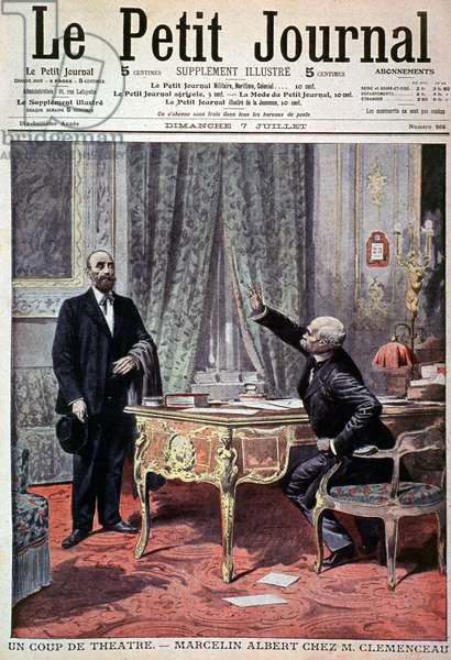 """cover of the illustrated supplement of the Petiger Journal, No. 868, 7 July 1907. Revolt of the winemakers of the Midi in 1907. Marcelin (Marcellin) Albert, the """"Chef des gueux"""", meets Georges Clemenceau, President of the Council, at the Ministry of Interior."""