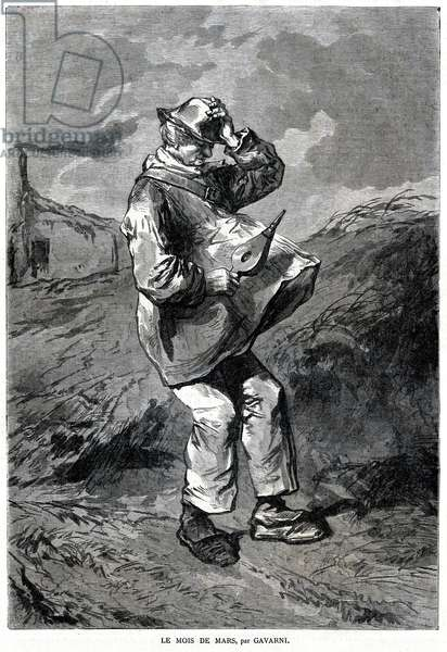 The month of March: representation of a man holding a bellows in one hand and his hat in the other, his clothes raised by the breath of the wind, 1870 (engraving)