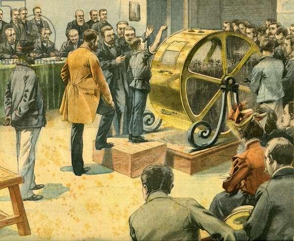 "The Wheel of Fortune: Bond draw at Credit Foncier. Last cover of the "" Supplement Litteraire du Petit Parisien"" n° 713, October 5, 1902 (ingraving)"