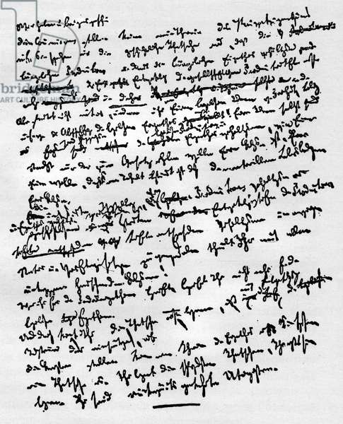 A handwritten page of the Communist Party Manifesto by Karl Marx (written in German between December 1847 and January 1848).