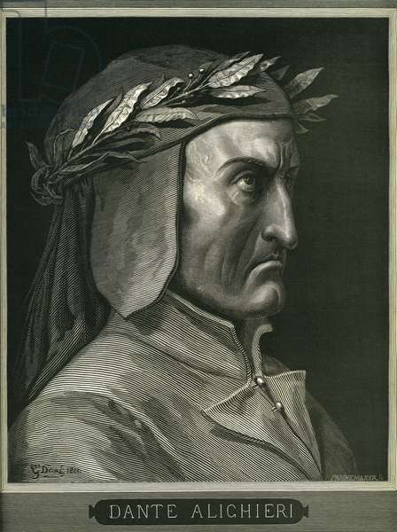"Portrait of Dante Alighieri (1265-1321) by Gustave Dore, in the frontispiece of ""Hell"" (the Divine Comedie) illustrated by Gustave Dore. French edition of 1861."