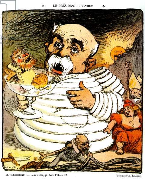 "Illustration by Charles Leandre on the cover of the newspaper Le Rire no. 198 of November 17, 1906: President Bibendum ""I also drink the obstacle"" - This statement by Georges Clemenceau refers to the advertising slogan of Michelin tires and to the emblematic character of the firm, the Michelin or Bibendum man created by the designer O'Galop. Clemenceau holds a cup containing the face of Jean Jaures rising from a box like a devil comes out, the helmet with the tip of the German army, the tiara and the pin of the Catholic Church (allusion to the separation of the Church and the State) - before the President of the Council, Paul Deroulede (1846-1914, French writer and nationalist activist) Cartoon in Don Quixote defeated, his broken sword, holds a tire down. Under the rising sun (evocation of the yellow peril) stands a frightened eveque and a fat Marianne rejoyed - politics and publicity -"