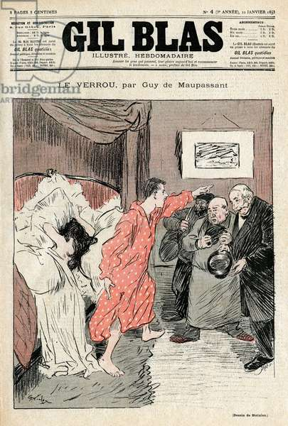 """Illustration by Steinlen of Guy de Maupassant's short story """""""" The lock"""""""""""". Illegitime couple caught in full love ebats - Adultere, surprise. Cover of Gil Blas No. 4, January 22, 1893."""