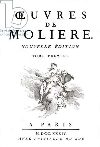 Title page of the works of Moliere, first volume of the edition of 1734, illustration of Francois Boucher (1703-1770) engraved by Laurent Cars.