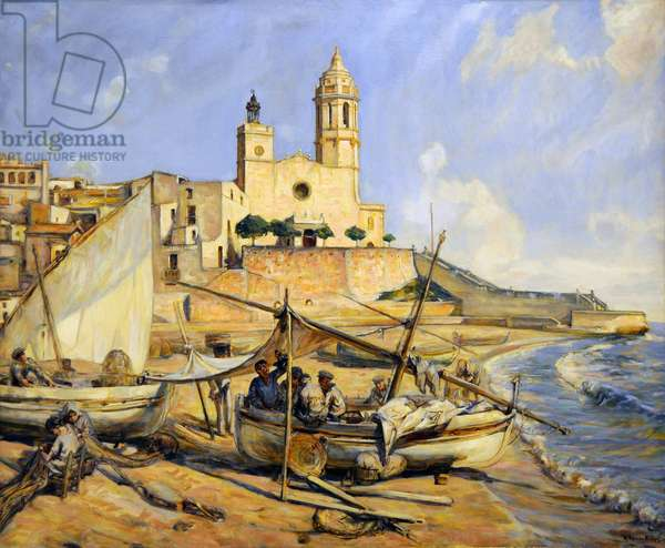 Maricel Museum of Sitges (Costa Brava, Catalonia, Spain): La Punta (beach and fishermen of Sitges) 1950 (oil on canvas)