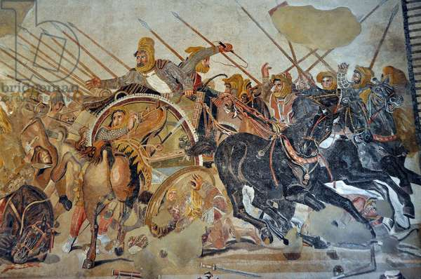 Detail of a mosaic of Pompei: Battle of Issos between Alexander and Darius (4th century BC). - King Darius III Codoman (380-330 BC), desempare on his chariot - opus vermiculatum - Archeological Museum of Naples, Italy - Museo Archeologico Nazionale, Napoli, Italia - Photo Patrice Cartier -