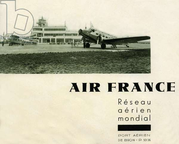 Advertisement of 1936 for Air France (Air-France, world air network) created in 1933 - the photo represents a plane of the airline, with its logo of the time familiar called the seahorse, on the tarmac of the air port of Bron (Lyon). The term airport is not yet used here.