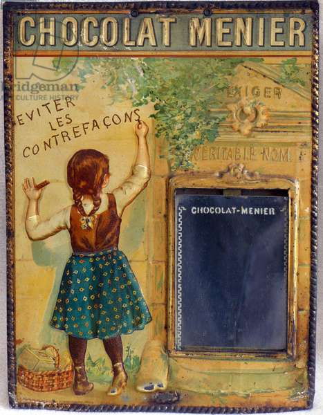 "Art 1900 - modern style (modern-style): advertising plaque of chocolate Menier, tole enamel, girl writing """" avoid counterfacons """" counterfacon - demand the true name - food brand, food, gourmet - groceries beginning 20th century - utilitarian and decorative object -photo Patrice Cartier -"
