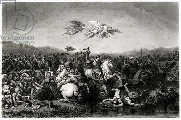Battle between Emperors Constantine I, (272-337) and Maxence (regne 306 to 312), 1840 (engraving)