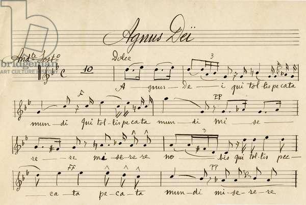 Manuscript sheet music of the Little Solemn Messe of Gioachino (Gioacchino, Giovacchino) Rossini (1792-1868): beginning of the Agnus Dei