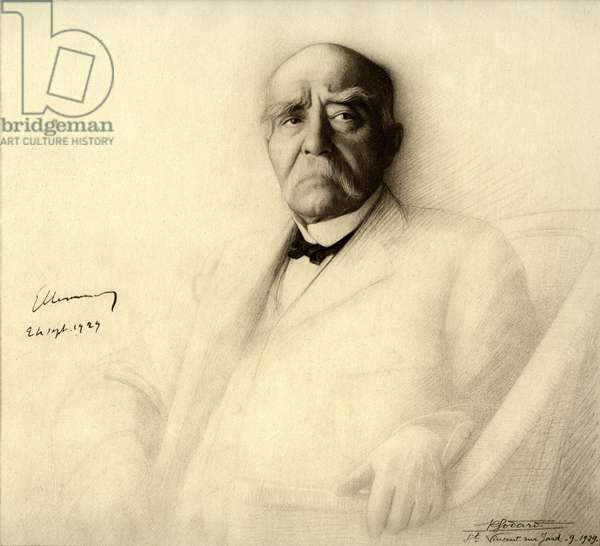 Portrait of Georges Clemenceau is 88 years old, September 24, 1929 (2 months before his death) by Rene Godard.