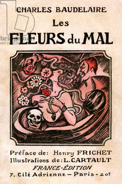 "Cover of the poetic collection by Charles Baudelaire ""Les Fleurs du Mal"", France-Edition 1910 (woodcut)"