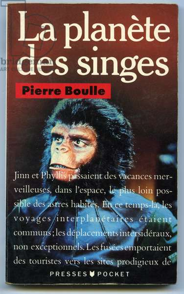 """Cover of Pierre Boulle's French science fiction novel """"La planete des apes"""" - the monkey in the literature -"""