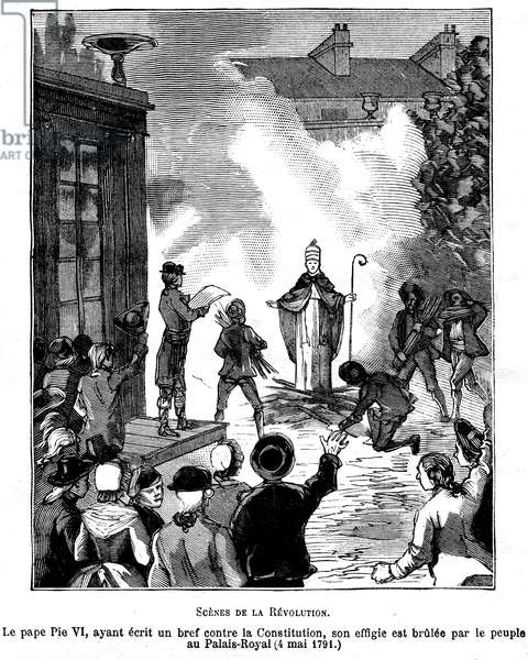 """Illustration of the book by Leo Taxil and J. Vindex """"Marat ou les heros de la revolution"""""""", Librairie anti-clerical (anti-clerical, anticlerical) 1883 - Revolution Francaise - On May 4, 1791 at the Royal Palace, the people burned the effigy of Pope Pius VI who had written against the Constitution - Engraving by Cardon -"""