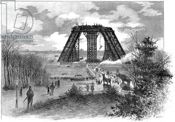 Construction of the Eiffel Tower for the Paris 1889 Universal Exhibition. Status of works in 1888, seen from the Trocadero (only the first floor is built). Drawing by nature by Mr. G Fraipont, published in the Illustrous Universe.