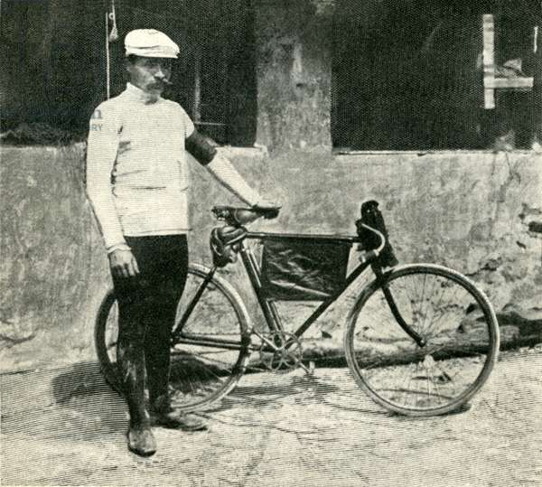 """Maurice Garin, cyclist, winner of the first Tour de France organizes in 1903 - photograph taken from the """"Nouvelles Illustrees"""" n°61 of July 23, 1903 (b/w photo)"""