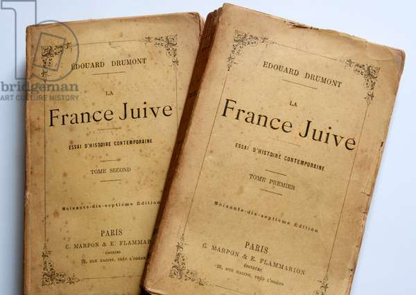 """The two volumes of the antisemite work by Edouard Drumont """"La France Jeive"""""""", edition Marpon & Flammarion at the end of the 19th century (print)"""