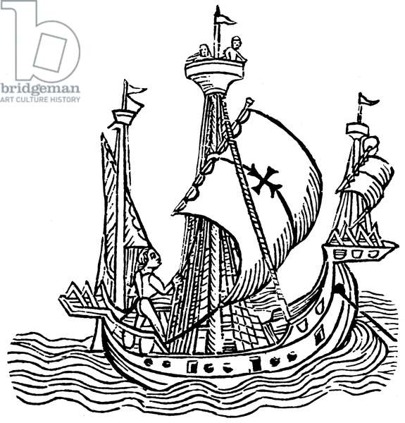 Christopher Columbus in his boat, has the sail marked with a Maltese Cross. In the hune, at the top of the big mat, two sailors watch the watch. Detail of a wood engraving by the printer Jacobus Wolff of Pforzheim in Bale, to accompany the printed version of a letter written by Christopher Columbus during one of his travels, to the secretary of Spanish treasor, Luis Santangel, 1493.