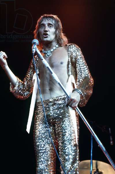 British rock singer Rod Stewart (Sir Roderick David Stewart) in concert with rock band The Faces in 1972 - Singer Rod Steward (born 1945) in concert 1972 with rock band The Faces - photo Urve Kuusik -