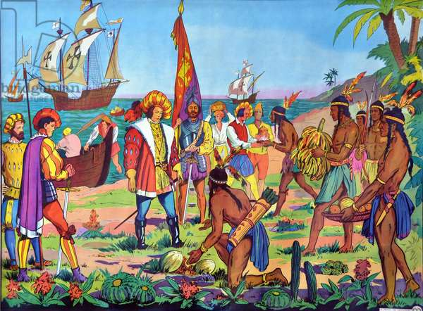 """School panel No. 2 of """"The House of the Teachers"""""""", years 1950-1960: the arrival of Christopher Columbus in America: offering of fruit from the Amerindians to the conquistadors (conquistadores) -"""