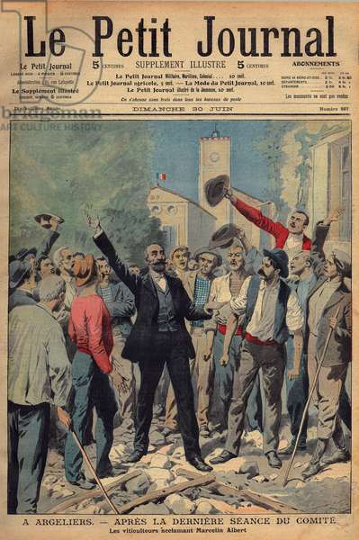 "Revolt of the winemakers of the Midi. The reactionary popular press is quick to tarnish the image of events and its actors. On June 30, 1907, the Supplement Illustrious of the Peer Journal published on the cover an engraving showing the ""chef des gueux"""" Marcelin (Marcellin) Albert triumphantly acclaimed by angry wine growers in his Audois village of Argeliers. From the next number, the cover shows Marcelin Albert, his hat in his hand, like a child caught at fault, in front of the vehement President of the Council Georges Clemenceau. (see GUT1310 & GUT1531)"