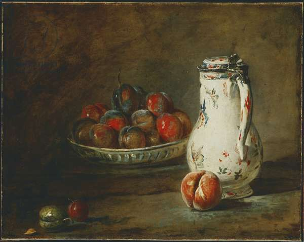 A Bowl of Plums, c.1728 (oil on canvas)