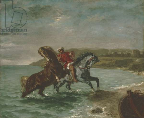 Horses Coming Out of the Sea, 1860 (oil on canvas)