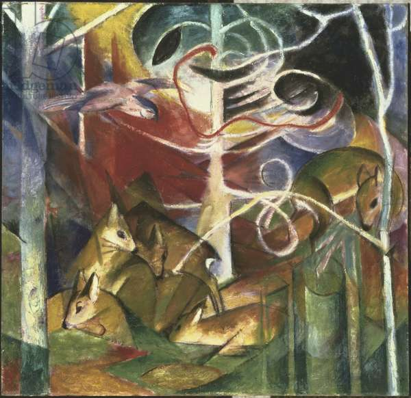 Deer in the Forest I, 1913 (oil on canvas)