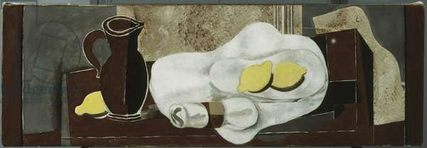 Lemons and Napkin Ring, 1928 (oil & graphite on canvas)