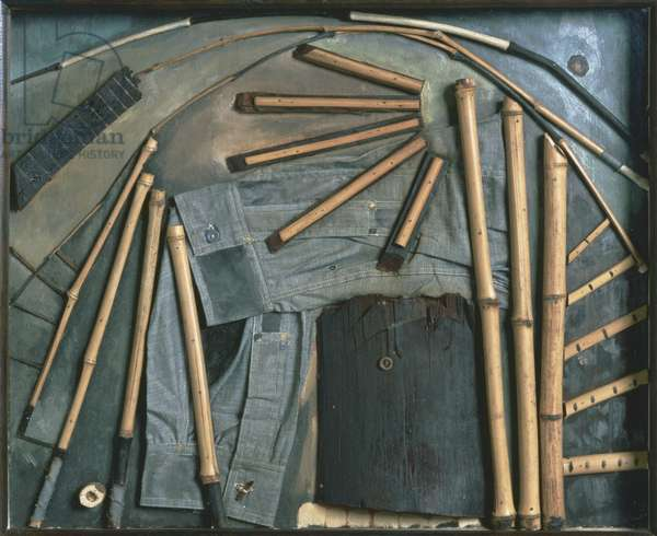 Goin' Fishin', 1925 (bamboo, denim, buttons, wood & oil on panel)