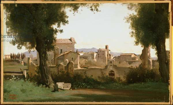 View from the Farnese Gardens, Rome, 1826 (oil on paper mounted on canvas)