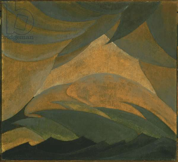 Golden Storm, 1925 (oil & metallic paint on plywood panel)