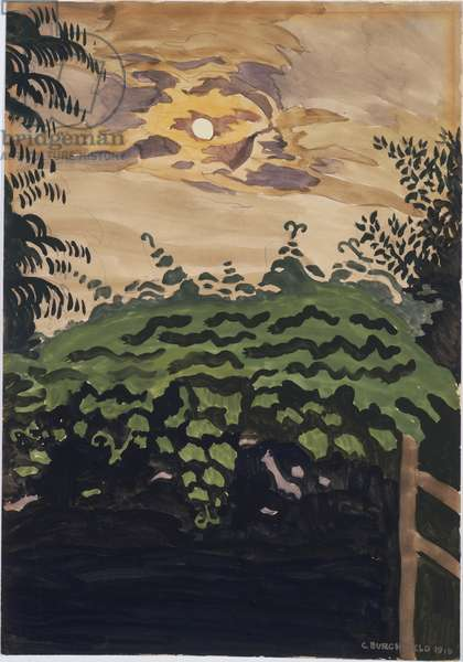Moonlight Over the Arbor, 1916 (w/c & gouache over graphite on paper)