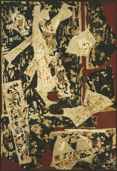 Collage and Oil, c.1951 (oil, ink, gouache & paper collage on canvas)
