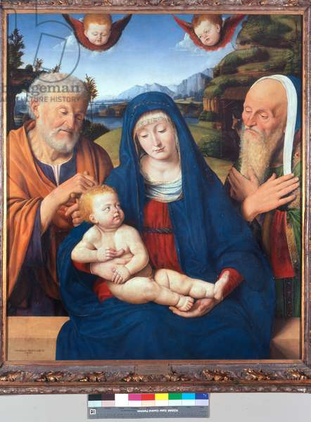 Madonna and Child with St. Joseph and St. Simeon, 1495 (mixed media on canvas)