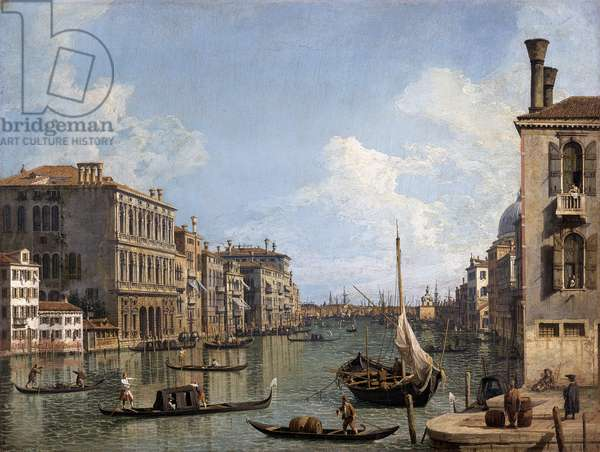 View of the Grand Canal towards the Punta dela Dogana from Campo San Vio, 1740-45 (oil on canvas)