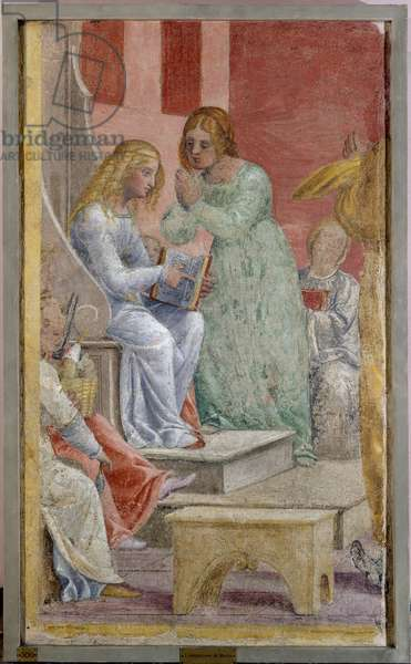 The childhood of the Virgin Mary at the Temple, 1520-21 (detached fresco mounted on canvas)