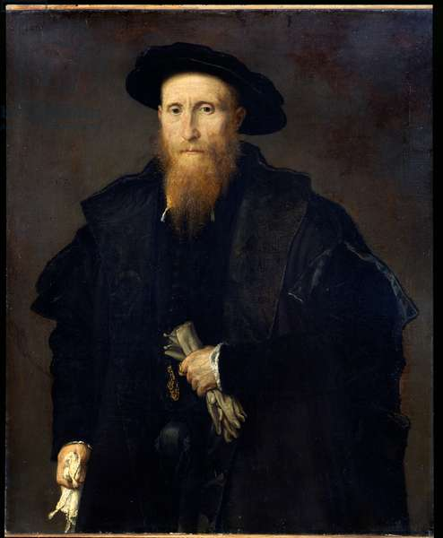 Portrait of an elderly gentleman with gloves (Liberale da Pinedel?), 1542-44 (oil on canvas)