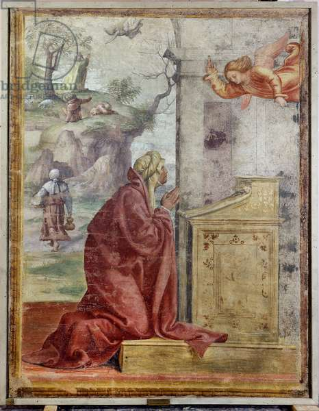Annunciation to St. Anne, in the background St. Joachim and the Angel, 1520-21 (detached fresco mounted on canvas)