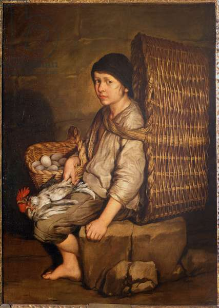 Errand boy seated with a basket on his back, eggs and poultry, c.1735 (oil on canvas)