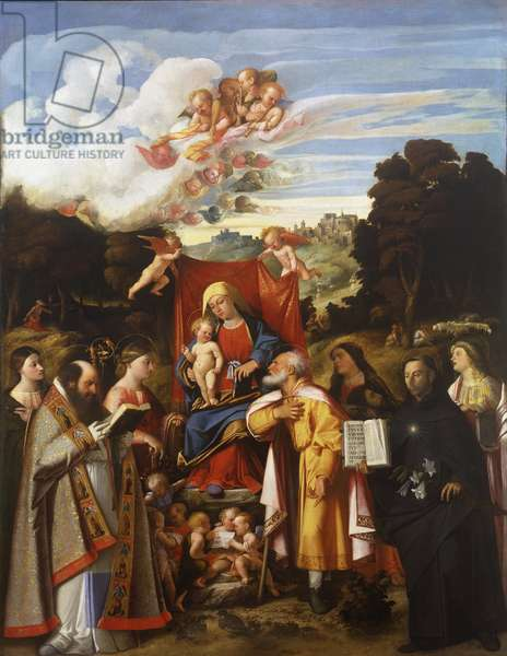 Madonna Enthroned with Angels, St. Apollonia, St. Augustine, St. Catherine, St. Joseph, St. Grata, St. Philip Benizzi and St. Barbara (St. Gotthard Altarpiece), 1517-18 (oil on canvas)