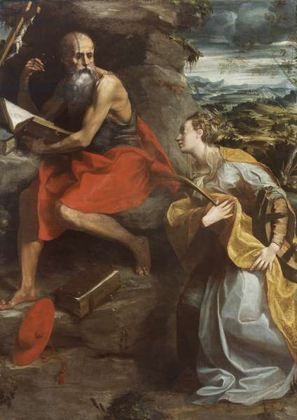 St. Jerome and St. Catherine of Alexandria, 1532-40 (oil on canvas)