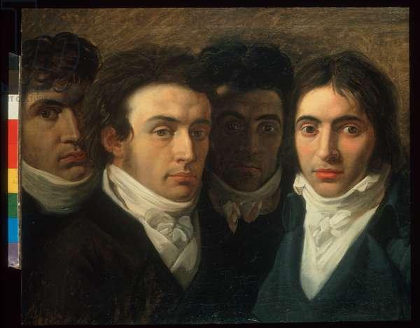 Self-portrait with Felice Bellotti, Gaetano Cattaneo and Carlo Porta, 1809 (oil on canvas)