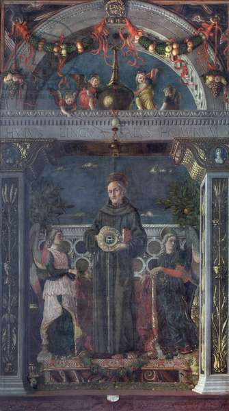 St Bernardino of Siena with Angels, 1469 (mixed media on canvas)