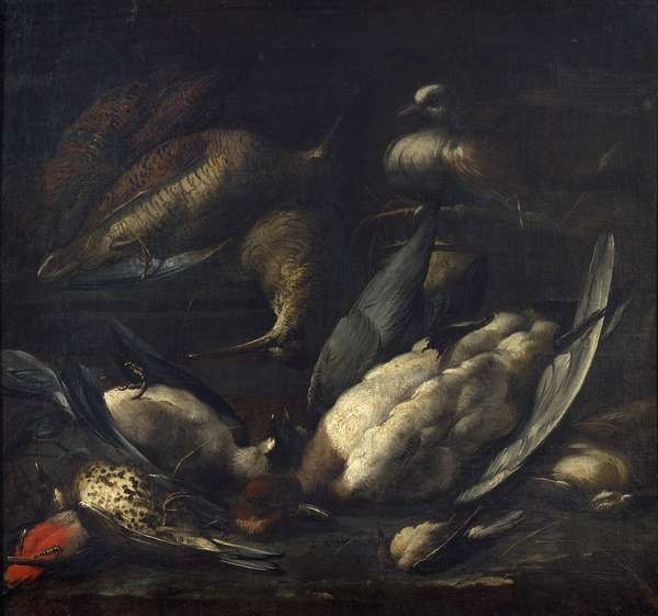 Game with a live pigeon, 1600-50 (oil on canvas)